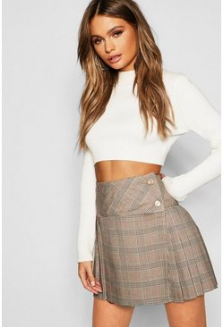 Stone Tonal Check Pleated Kilt Mini Skirt