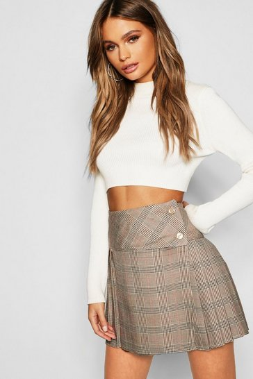 Womens Stone Tonal Check Pleated Kilt Mini Skirt