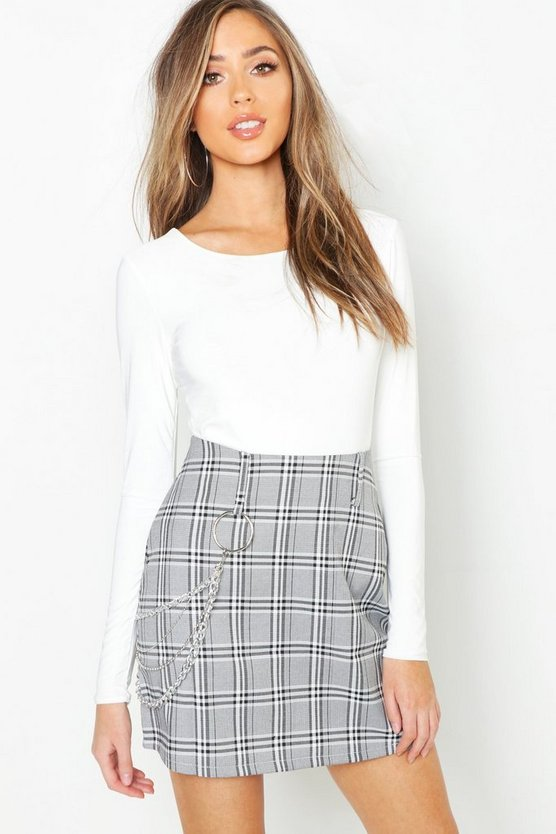 Womens Grey Chain Trim Woven Mini Skirt
