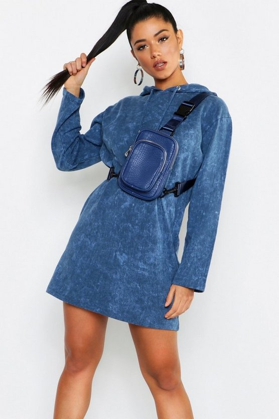 Hooded Oversized Acid Wash Sweatshirt Dress