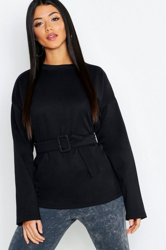Womens Black Self-Buckle Long Sleeve Sweatshirt