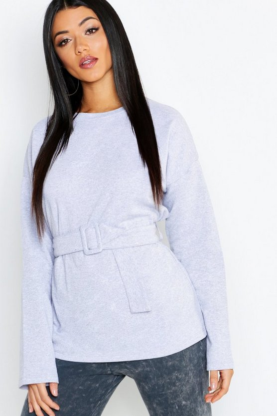 Self-Buckle Long Sleeve Sweatshirt