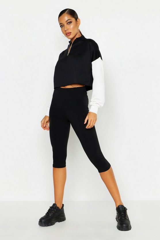 Black Basic 3/4 Length Leggings