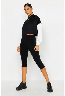 Womens Black Basic 3/4 Length Leggings