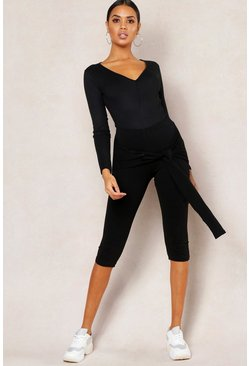 Womens Black Basic Tie Detail 3/4 Length Legging