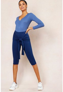 Womens Denim-blue Basic Tie Detail 3/4 Length Legging
