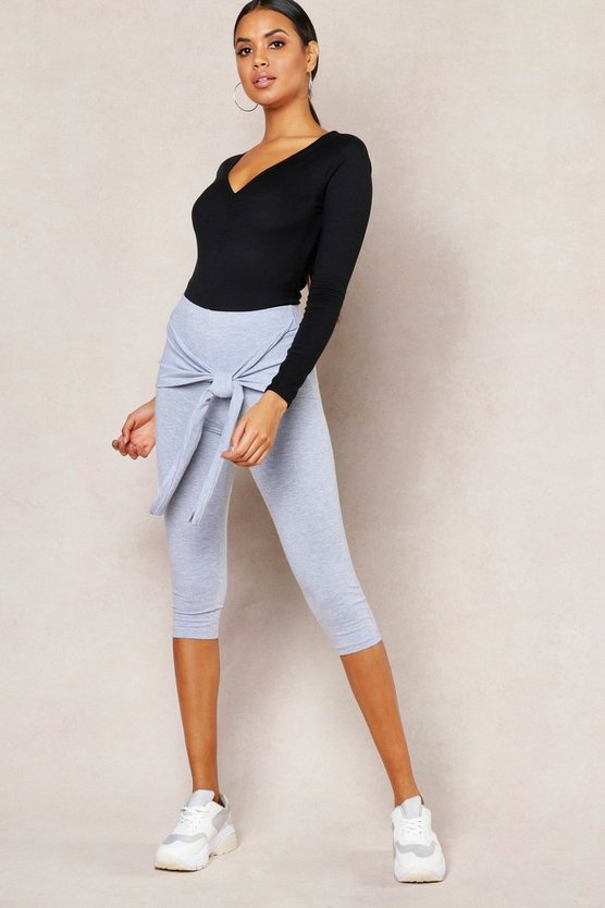 Womens Grey Basic Tie Detail 3/4 Length Legging