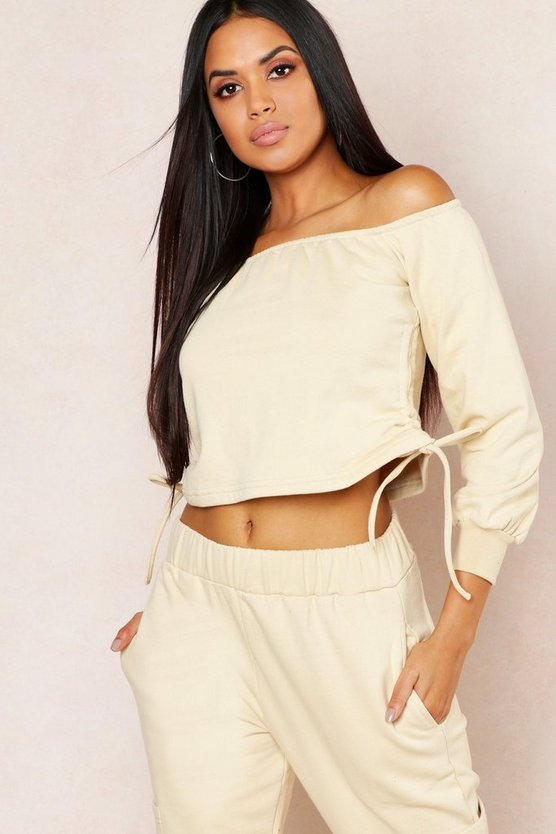 Off Shoulder Ruched Side Sweat Top