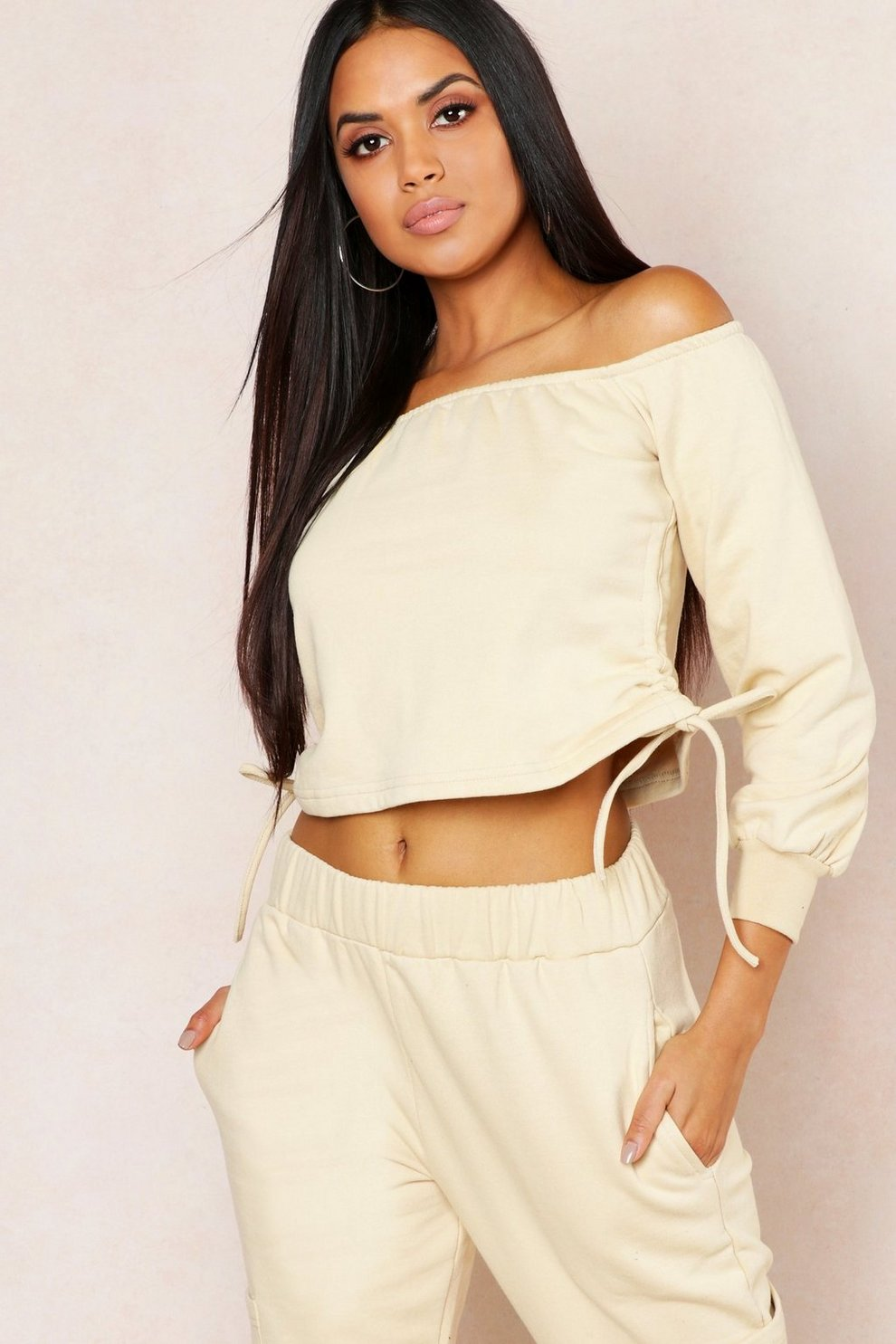 c7ccd7a2981a8f Off Shoulder Ruched Side Sweat Top