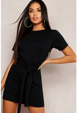 Black Tie Waist T-Shirt Dress