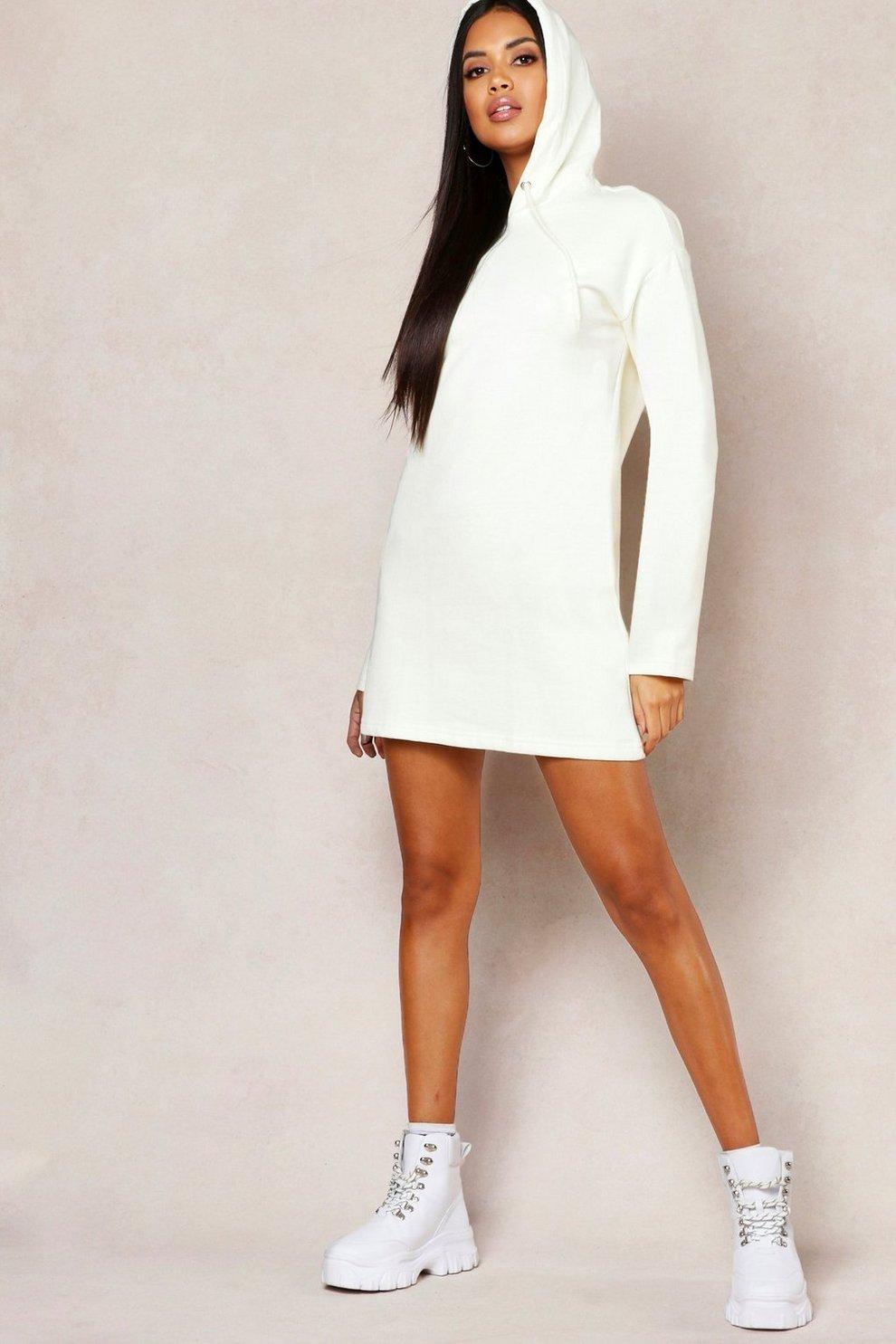627069a3263 Womens Ecru Hooded Oversized Sweatshirt Dress