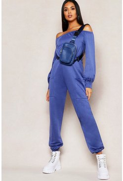Womens Denim-blue Off Shoulder Pocket Detail Sweat Jumpsuit