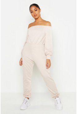 Ecru Off Shoulder Pocket Detail Lounge Jumpsuit