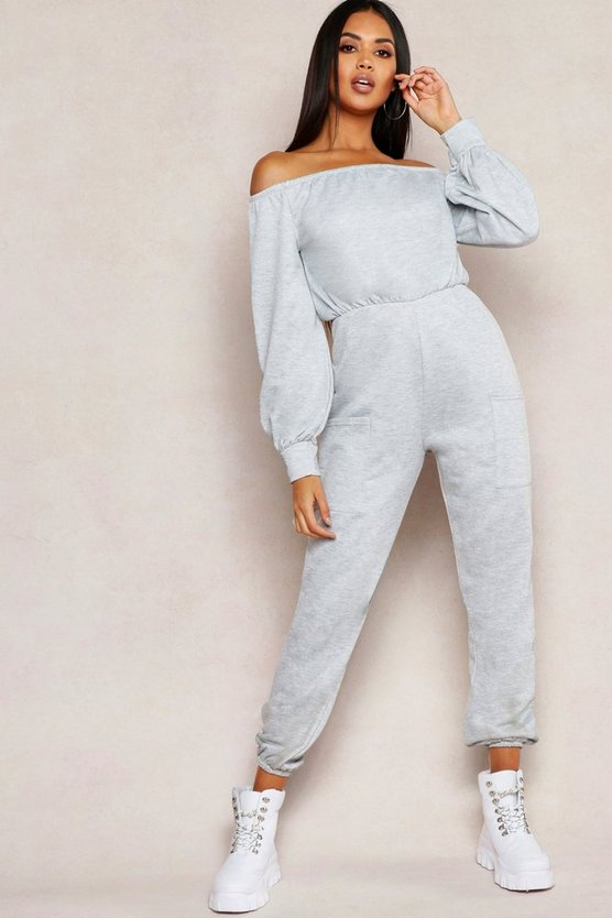 Off Shoulder Pocket Detail Sweat Jumpsuit
