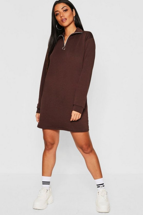 Womens Chocolate O Ring Detail Sweat Dress