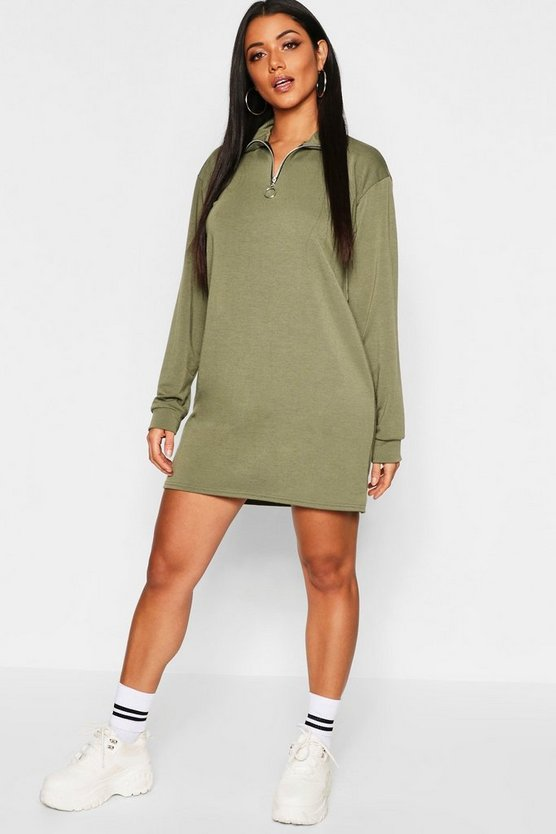 Womens Khaki O Ring Detail Sweat Dress