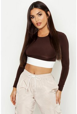 Womens Chocolate Colour Block Long Sleeve Crop Top