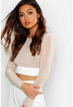 Womens Stone Colour Block Long Sleeve Crop Top