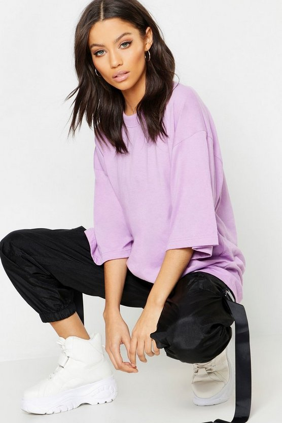 Womens Lilac Oversized Cotton T Shirt