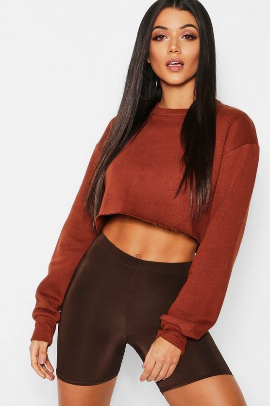 Womens Chocolate Crew Neck Cropped Sweat