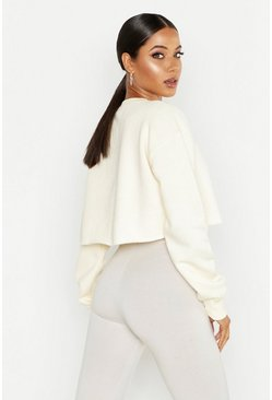 Womens Ecru Crew Neck Cropped Sweat