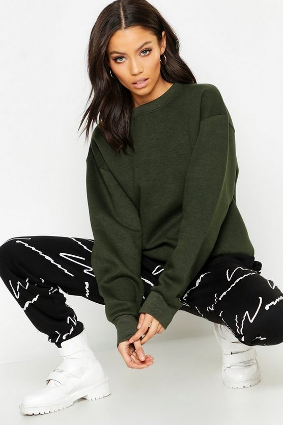 Womens Khaki Oversized Basic Crew Neck