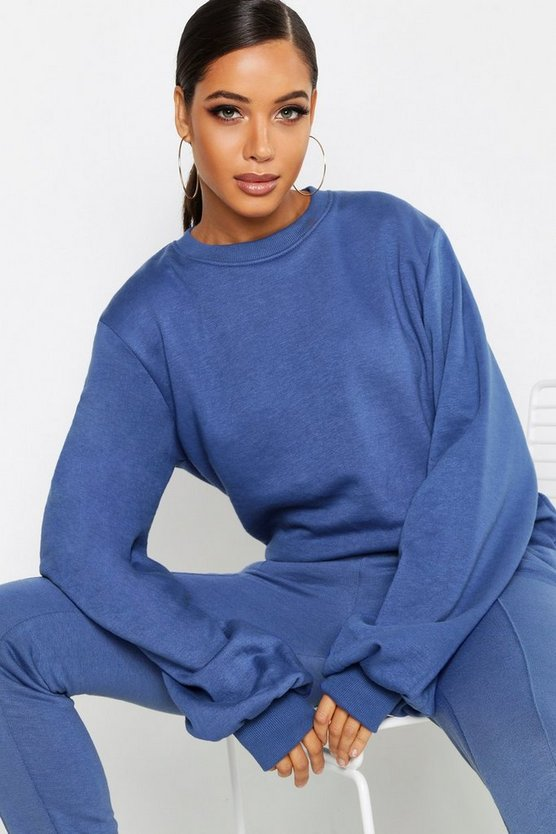 Womens Denim-blue Balloon Sleeve Sweat