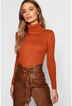 Womens Rust Rib Knit Roll Neck Jumper