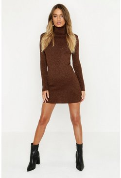 Womens Chocolate Metallic Rib Knit Roll Neck Jumper Dress