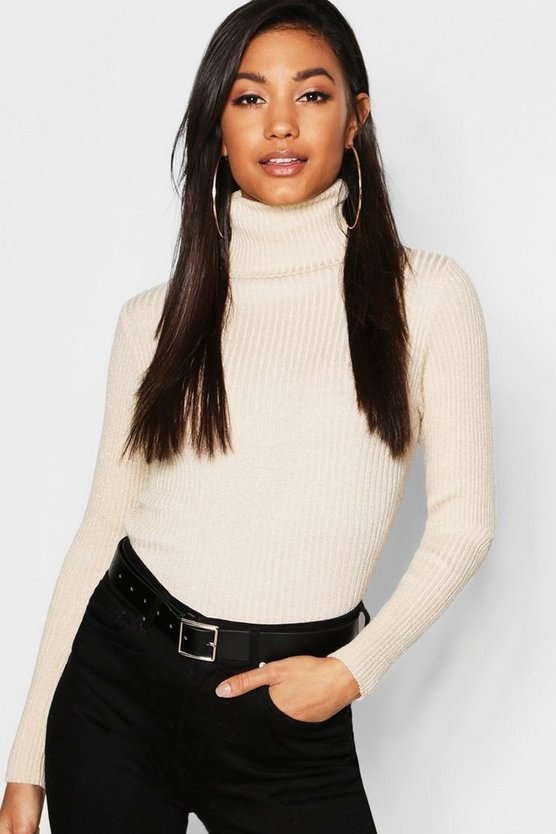 Womens Cream Metallic Rib Knit Roll Neck Jumper
