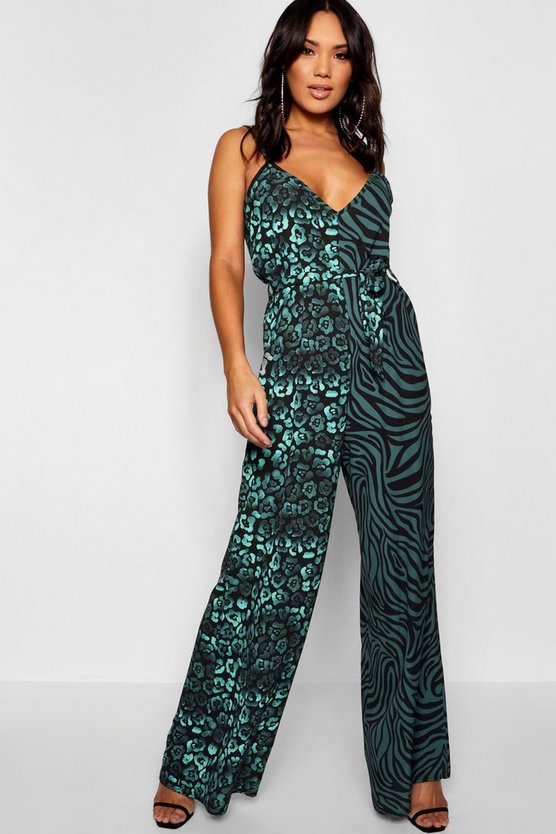 Animal Mix Tie Waisted Jumpsuit