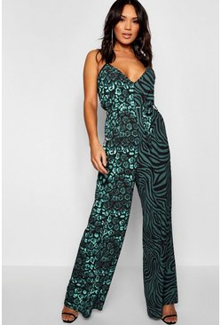 Womens Black Animal Mix Tie Waisted Jumpsuit