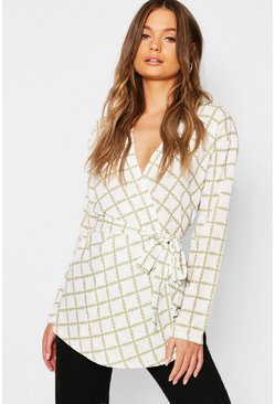 Womens Ivory Chain Print Wrap Tie Top