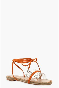 Womens Orange Clear Strap Wrap Espadrille Sandals
