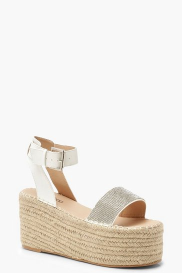 Womens White Diamante Espadrille Flatform Sandals