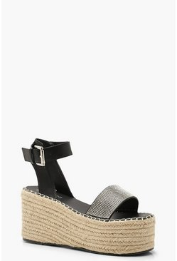 Womens Black Diamante Espadrille Flatform Sliders