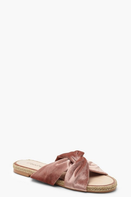 Womens Blush Velvet Knot Espadrille Sliders