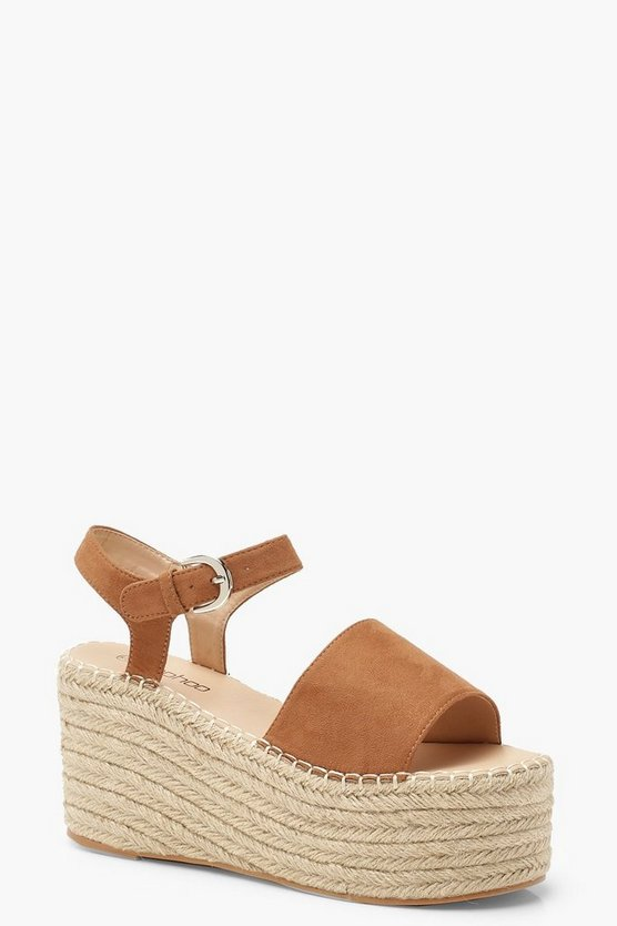 Womens Tan Espadrille Flatform Sandals