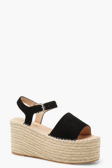 Womens Black Espadrille Flatform Sandals
