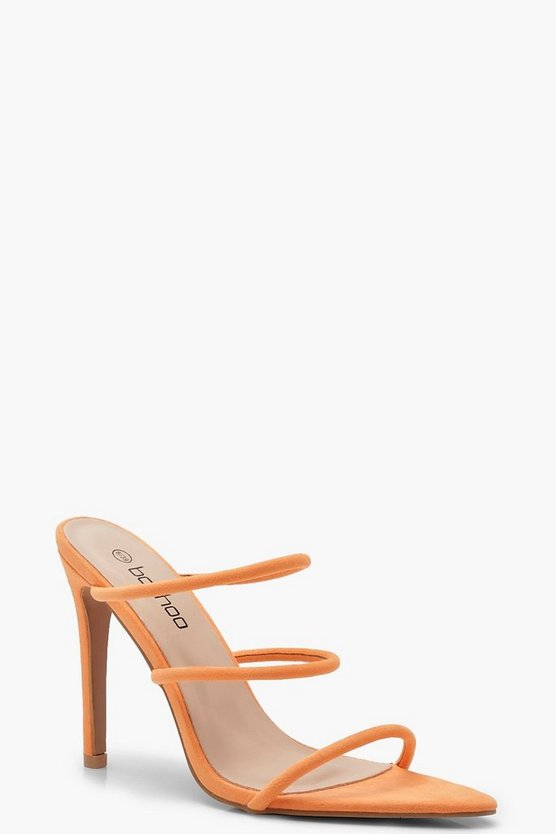 Womens Orange Neon Triple Band Mules