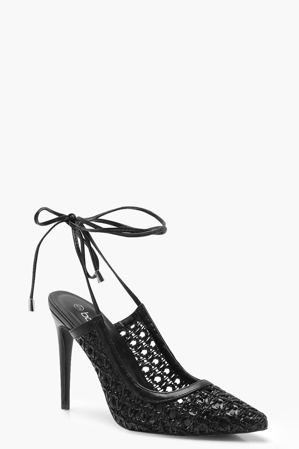 Womens Woven Wrap Pointed Court Shoe Heels - Black - 4