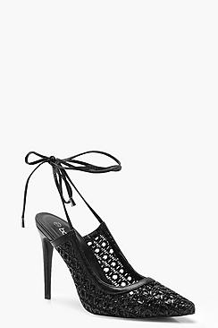 Woven Wrap Pointed Court Shoes