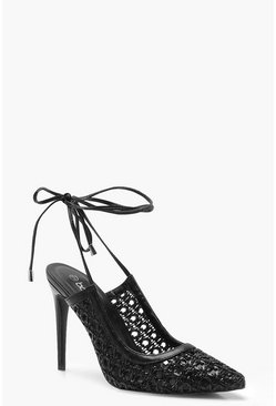 Womens Black Woven Wrap Pointed Court Shoes