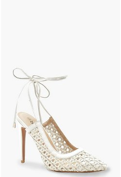 Womens White Woven Wrap Pointed Court Shoes