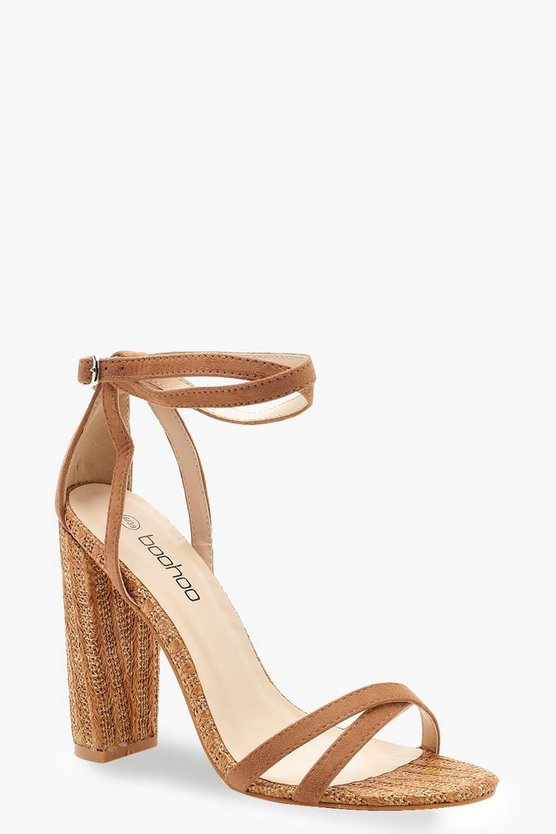 Womens Tan Woven Strappy Block Heels