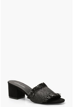 Womens Black Woven Block Heel Mules