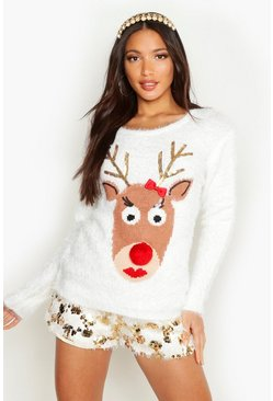 Womens Ivory Reindeer Fluffy Knit Christmas Jumper