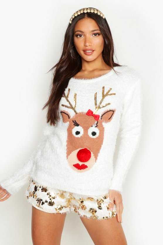Reindeer Fluffy Knit Christmas Jumper