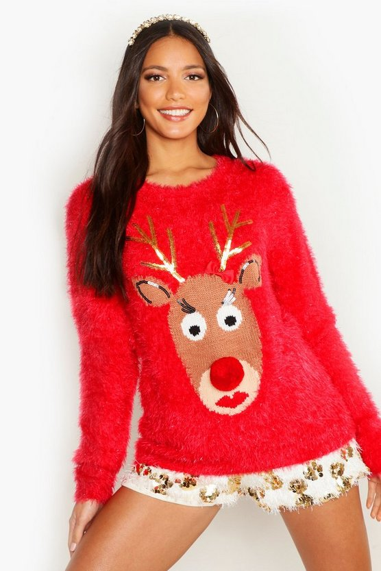 Red Reindeer Fluffy Knit Christmas Jumper