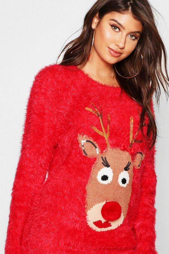 Reindeer Fluffy Knit Christmas Jumper
